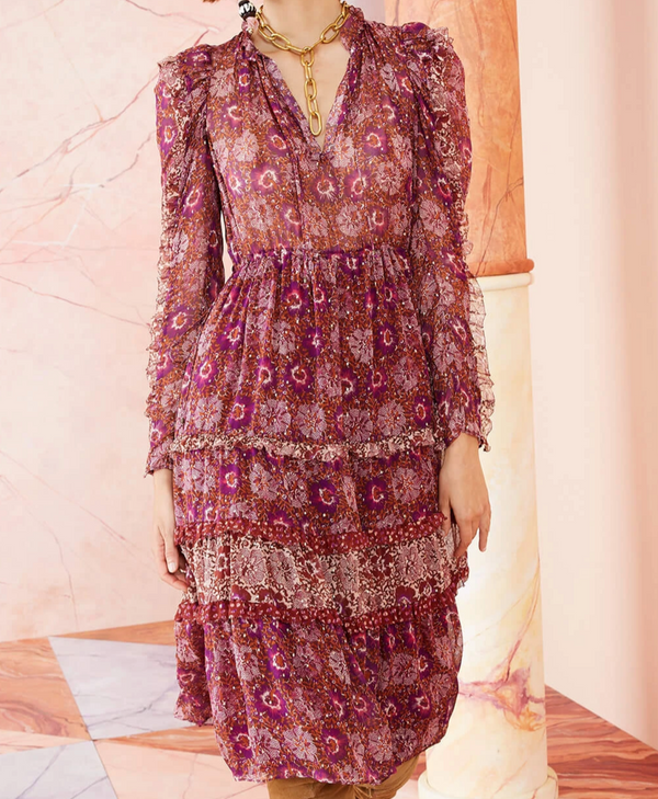 Ulla Johnson Alessandra Dress Claret Patchwork