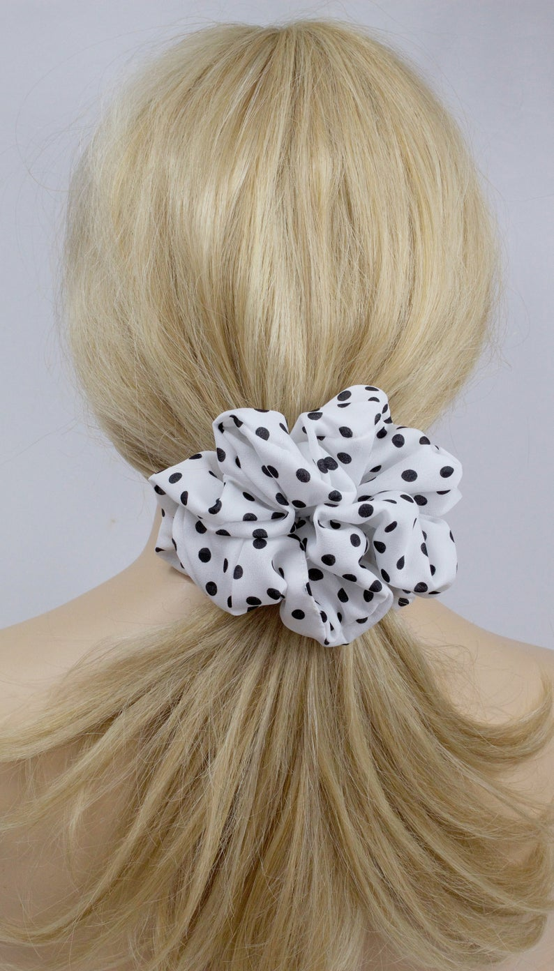 Scrunchies | Polka Dots | Black and White | Chiffon