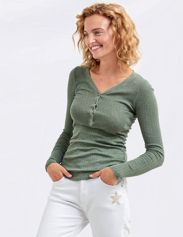Sundry Henley Long Sleeve Chai