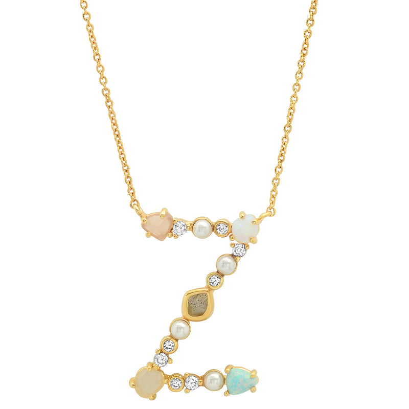 Tai Opal Stone Crusted Initial Necklaces