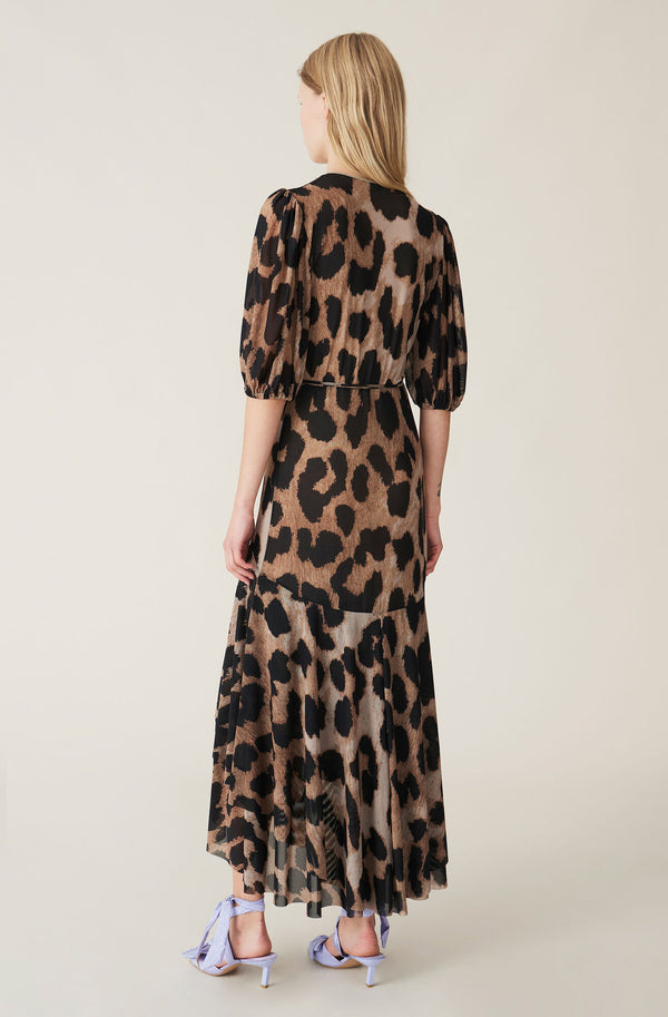 Ganni Printed Mesh Wrap Dress Maxi Leopard
