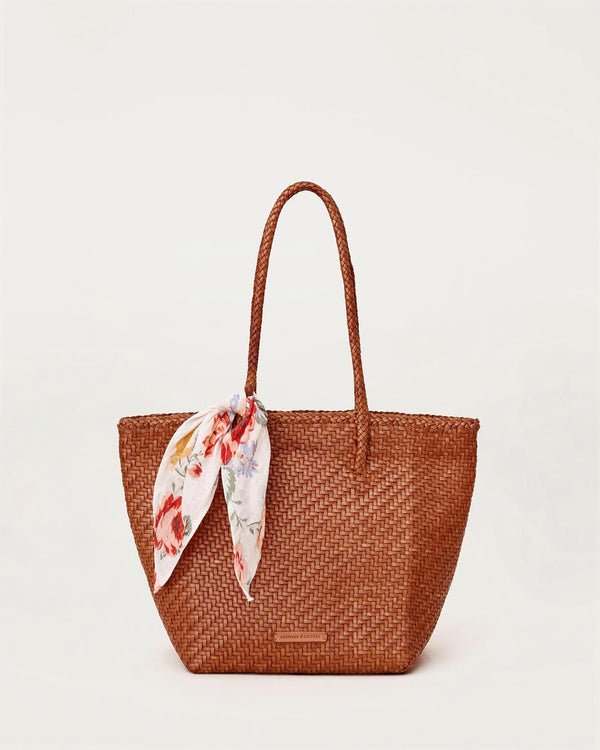Loeffler Randall Tatia Woven Leather Tote w/ Fabric