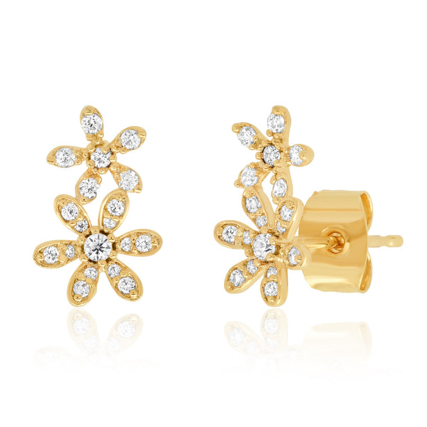 Tai Double flower CZ post earring
