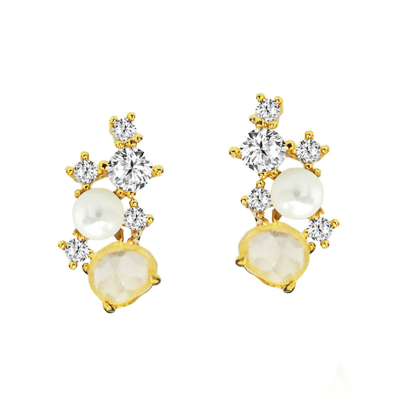 Tai White rock crystal, CZ and pearl small climber post earrings