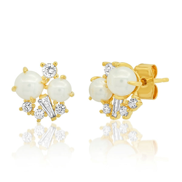 Tai Pearl and CZ cluster post earrings