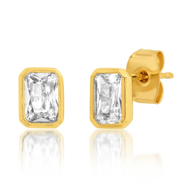 Tai Gold trim rectangle CZ post earrings