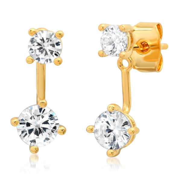 Tai Mixed shaped solitaire jacket earrings