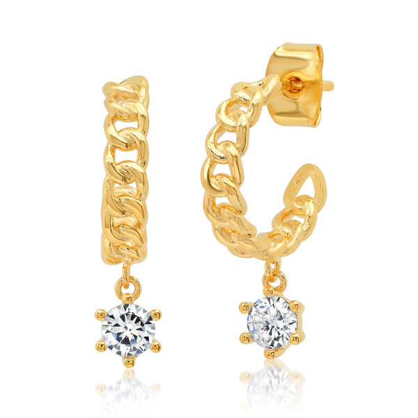 Tai Gold textured rope hoop earrings with CZ charm