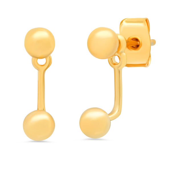 Tai Simple gold ball post earrings with simple ball jacket back