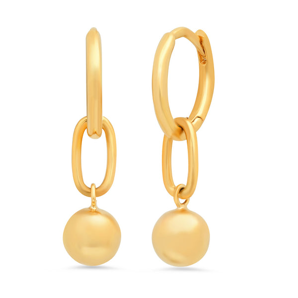 Tai Simple gold huggie earrings with ball drops