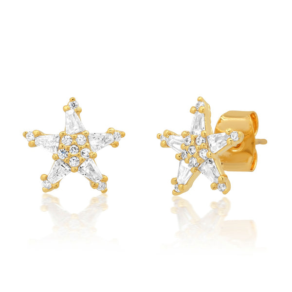 Tai Baguette CZ star post earrings