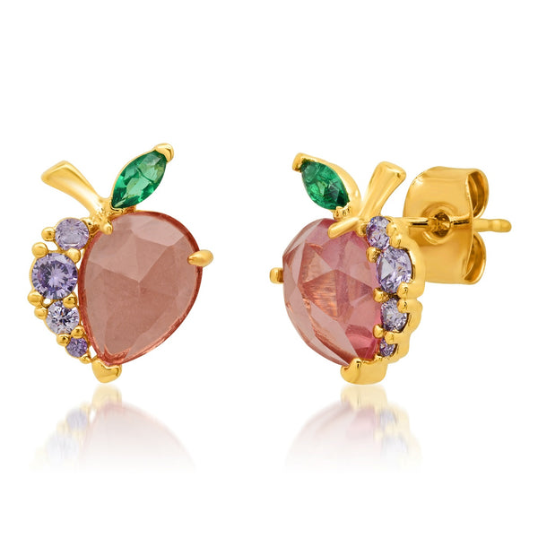 Tai Peach colored glass, purple CZ and green leaf peach post earrings