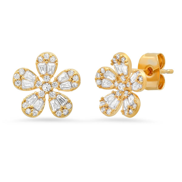 Tai Large CZ flower post earrings