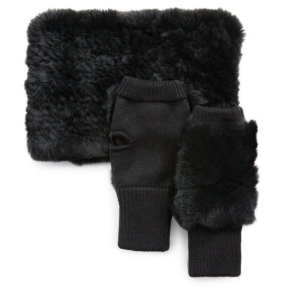 Jocelyn Knitted Faux Fur Stretch Cowl & Mittens Set