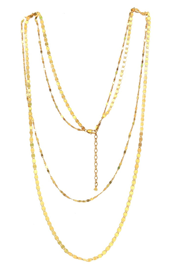 Tai Less shiny gold long chain multi layered necklace