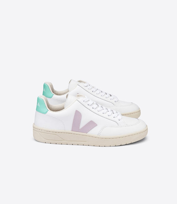 Veja Fair Trade V-12 Leather Extra White Parme Turquoise