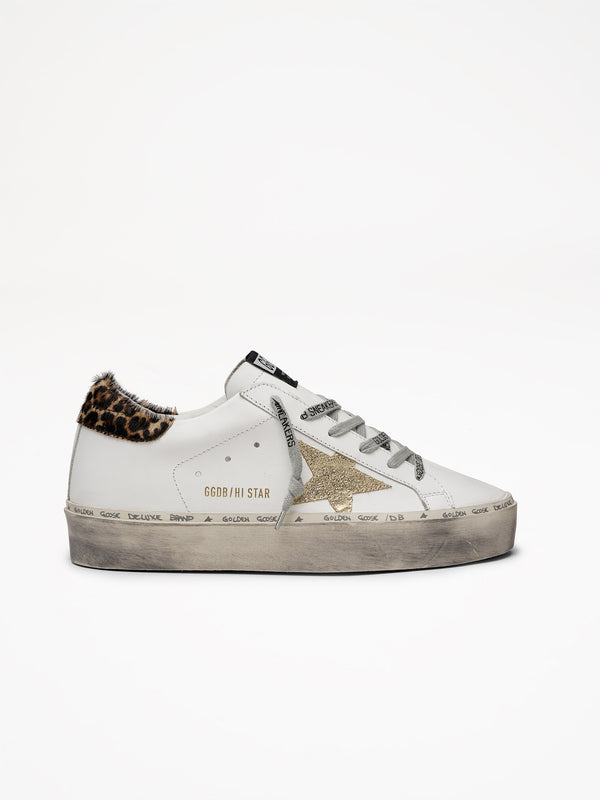 Golden Goose Hi Star Col Q3 White Leather Gold Star Logo Lace