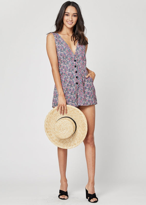 Lost + Wander Orchid Button Down Romper Blue