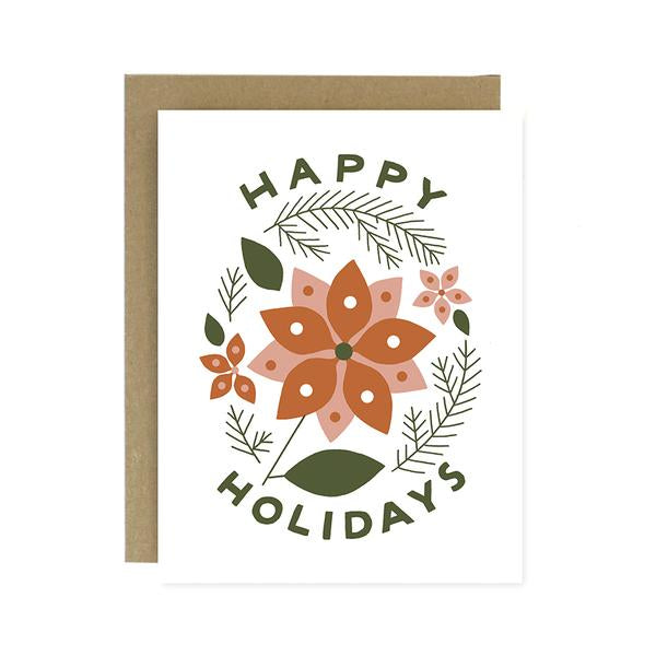 Worth While Paper Happy Holidays Poinsettia Card