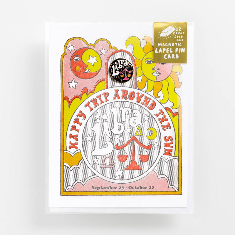 Yellow Owl Libra Riso Card w/ Lapel Pin