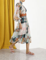 Zimmermann Wavelength Smock Midi Patchwork Floral