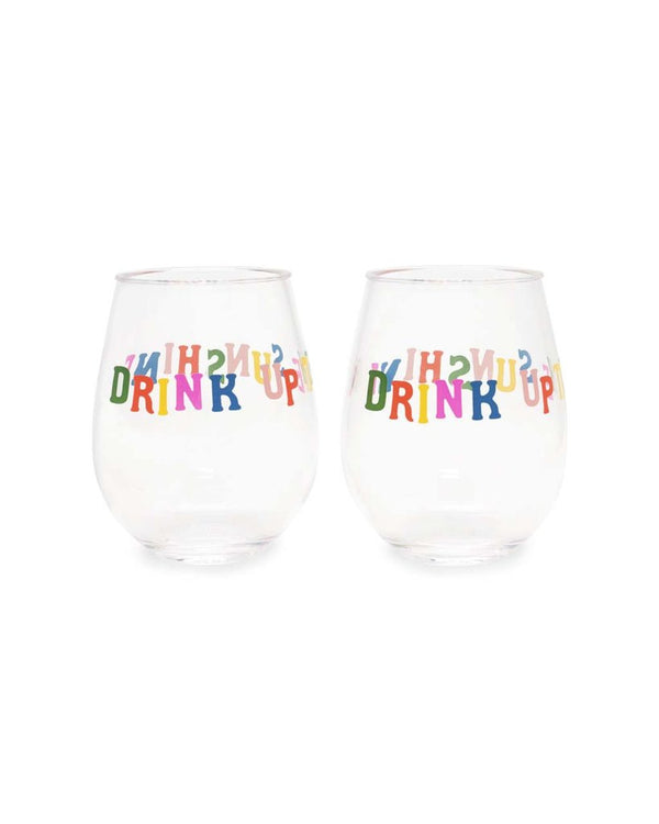 Bando acrylic stemless wine glass drink up sunshine