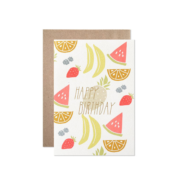Hartland Brooklyn Happy Birthday Neon Fruit with Gold Foil