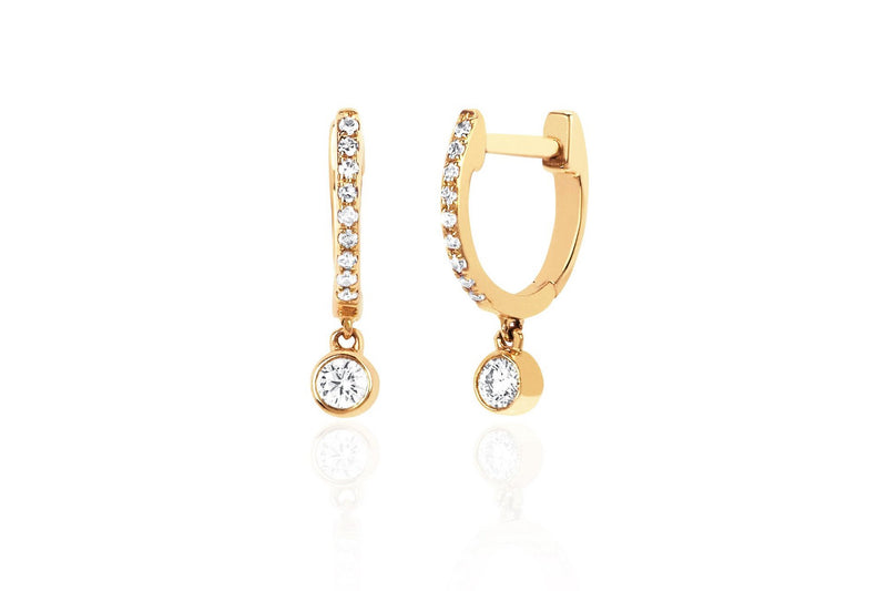 EF Collection Diamond Mini Huggie With Diamond Bezel Drop Earring (SINGLE)