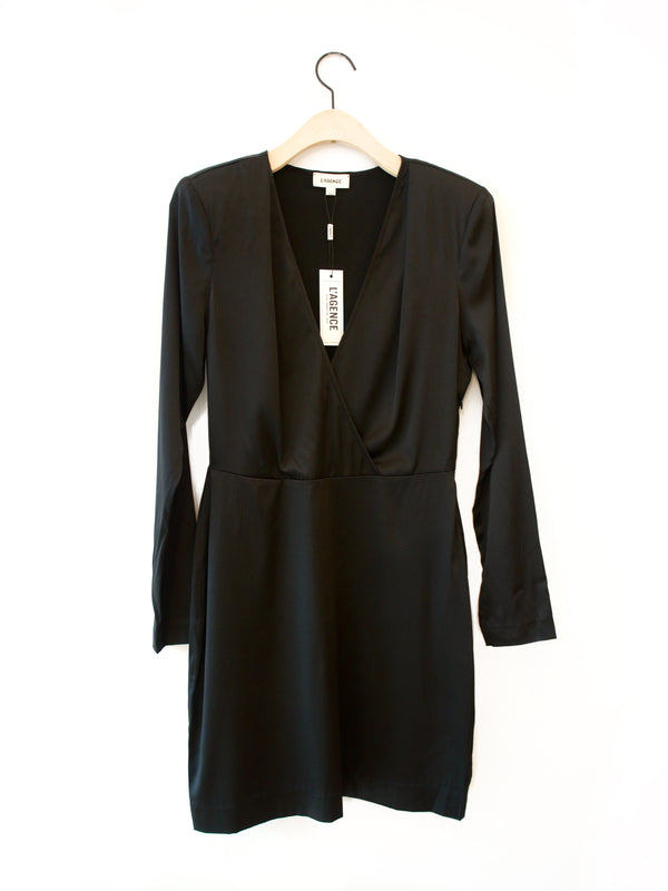 L'agence Kailyn Longsleeve Deep V Dress Black