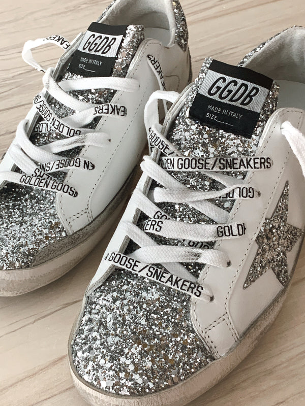 Golden Goose Superstar Leather Upper Glitter Star and Heel White/Silver