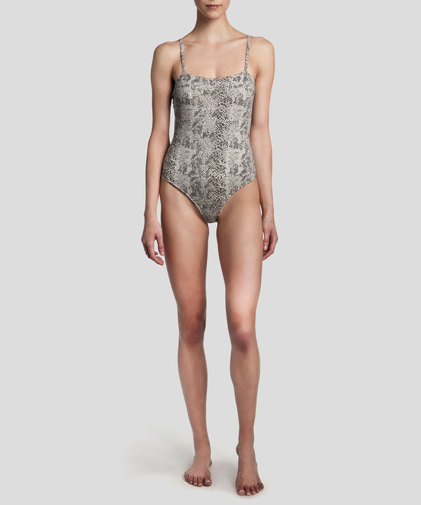 ATM Snake Print Cotton Bodysuit Haze/Pavement Combo