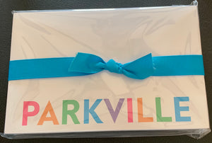 Parkville Notepad with blue ribbon