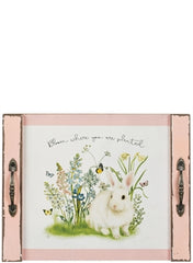 Pink Bunny Tray with Handles