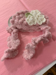 Pink with white flowers baby hat