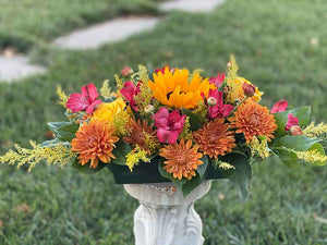 Thanksgiving Centerpiece with Sunflowers, Roses and Mums