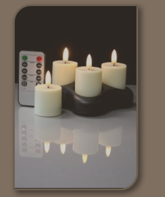 Set of 4 Tea Lights with Remote