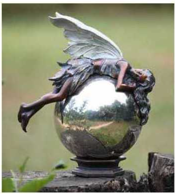 Bronze Fairy on Gazing Ball