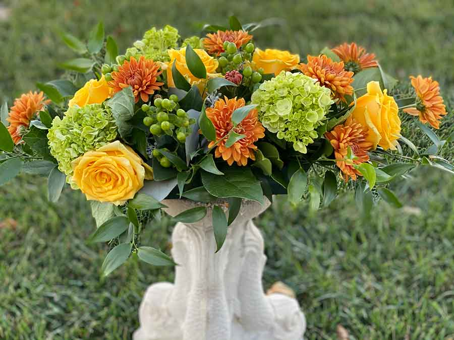 Thanksgiving Centerpiece with Yellow Roses
