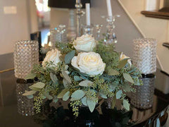 Farmhouse White Rose Centerpiece