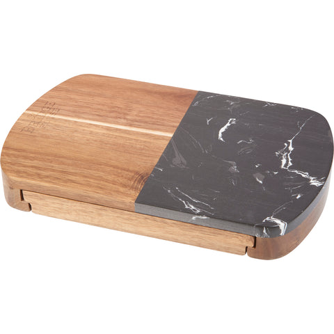 Black Marble Cheese Board Set With Knives 1033-78