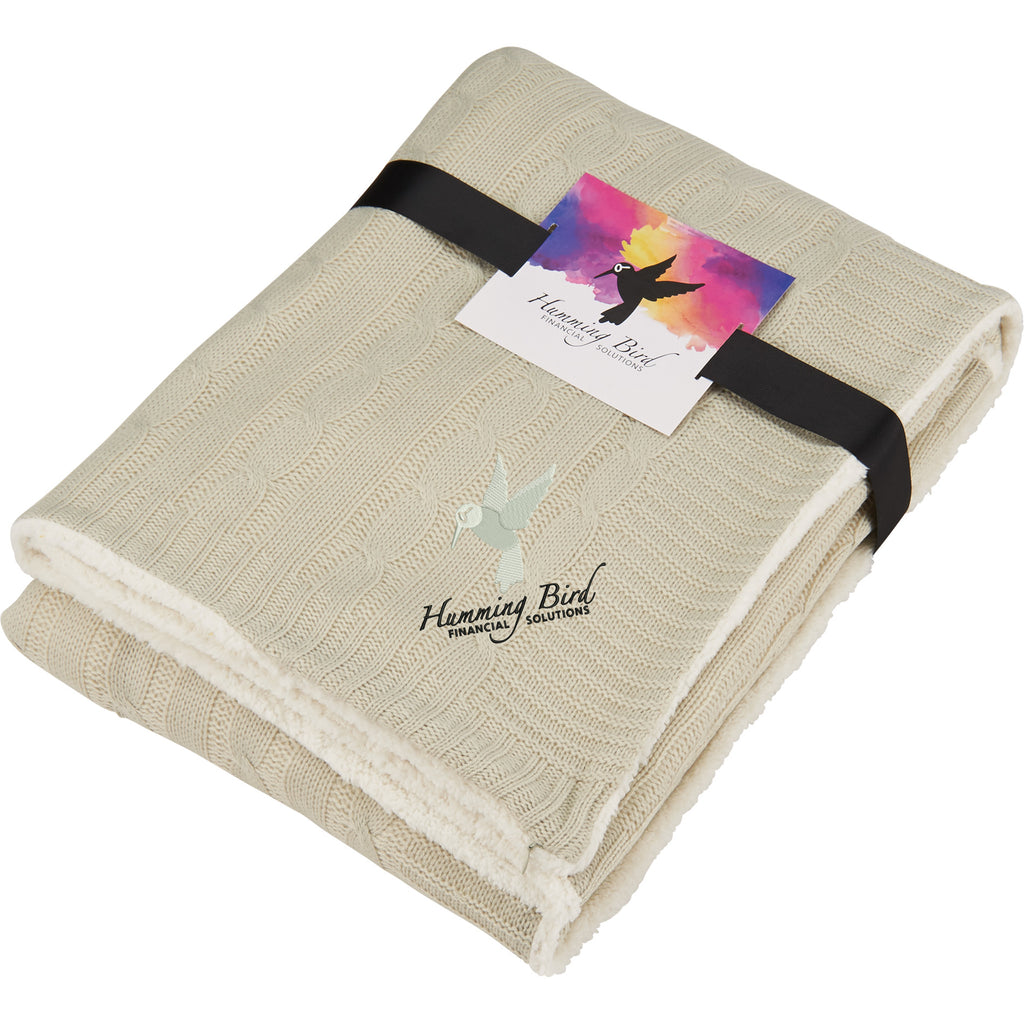 Field & Co. Cable Knit Sherpa Blanket With Card 1081-34
