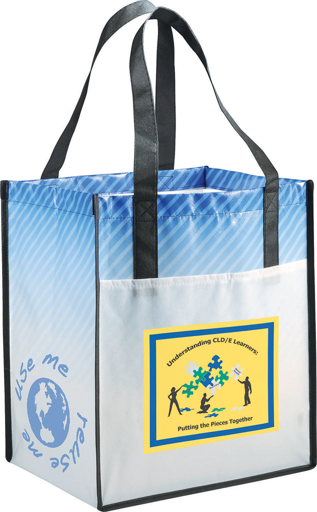 Big Grocery Striped Laminated Non-Woven Tote 2160-50
