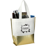 Large Laminated Non-Woven Metallic Bottom Tote 2301-54