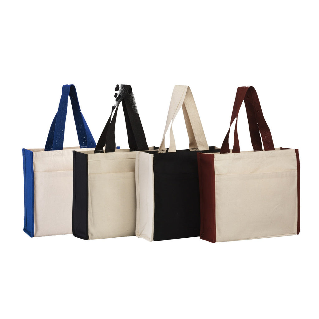 Daily use Canvas Tote with contrasting handles and a full front pocket BG1199