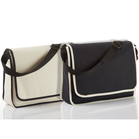 Modern Classy Canvas Satchel / Messenger Bag with top flap and inside Zippered Pocket BG1270