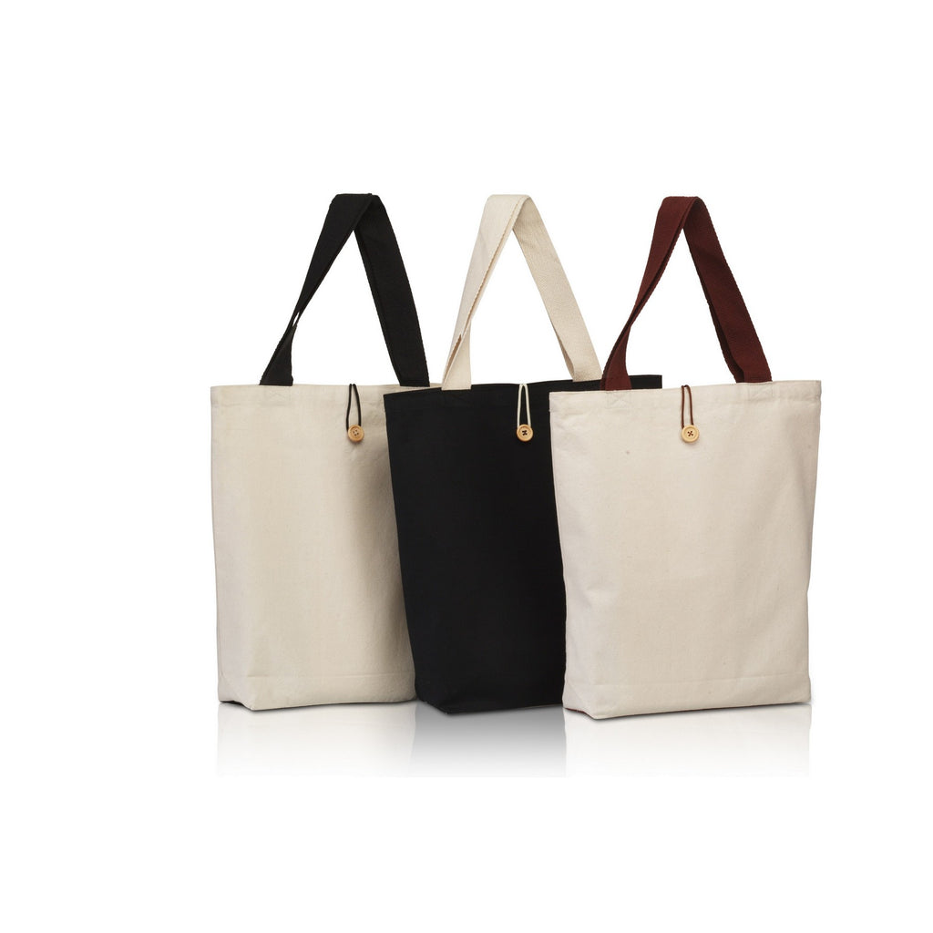 Canvas Tote with Contrasting Handles and Front Button BG899