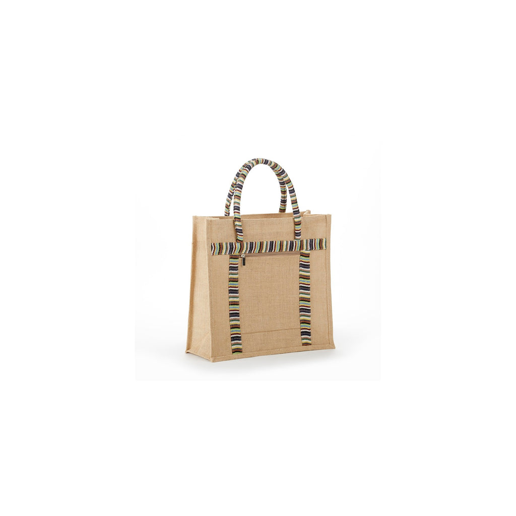 Jute - Stylish Double Zipper Burlap Tote Bag JB8034
