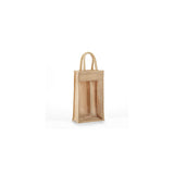 Jute - Two Bottle Clear & Solid Front Burlap Wine Bag JBWB2