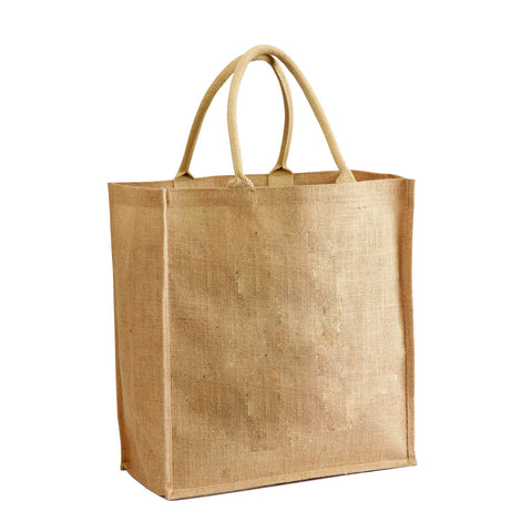 Jute - Burlap Shopping Tote With Cotton Webbed Handles JC0074