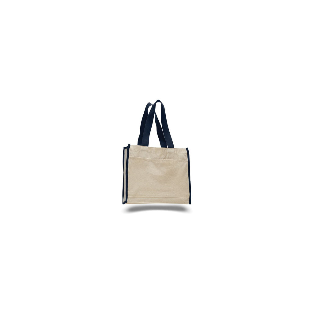 All Time Favorite 2 Tone Canvas Tote Bag with Front Pocket and Wider Web Handles - Colors TFW1100-C